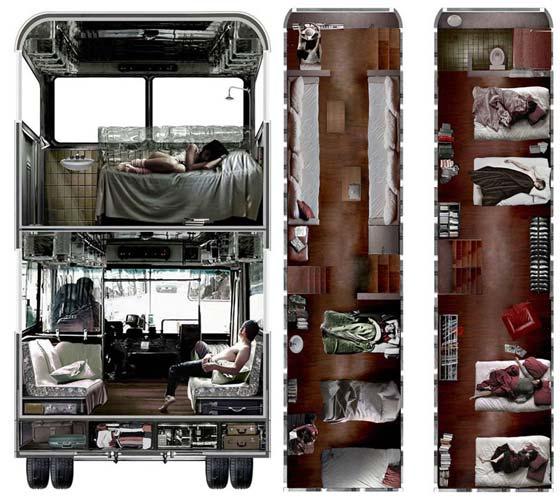 Отель из двухэтажного автобуса