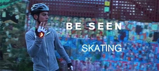 Велоперчатки с поворотниками для скейтбордистов